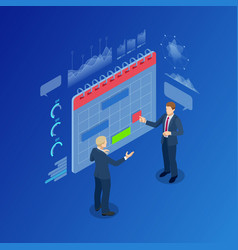 isometric modern people planning business strategy vector image