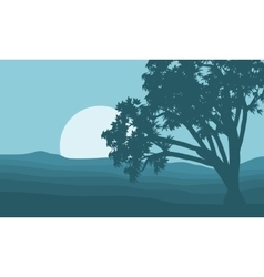 Silhouette of single tree and moon vector image vector image