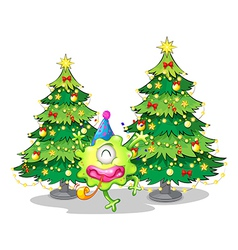 Two tall christmas trees at the back of a happy vector image vector image