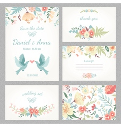Beautiful vintage wedding set vector image vector image