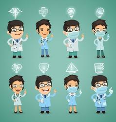 doctors with simbols set vector image
