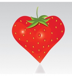 strawberry with shape like heart vector image vector image