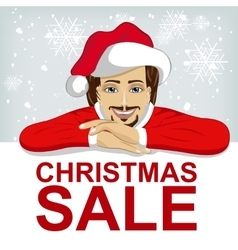 young man wearnig santa hat leaned on blank board vector image