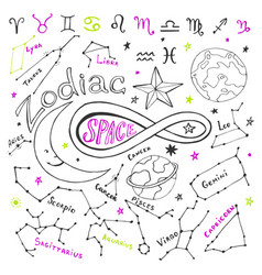 Zodiac signs hand drawn collection with doodle vector