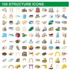 100 structure icons set cartoon style vector image vector image