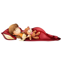 A young girl sleeping soundly with her toy vector image vector image