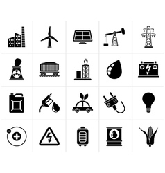 Black Power energy and electricity Source icons vector image vector image