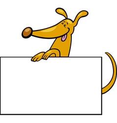 cartoon dog with board or card vector image vector image