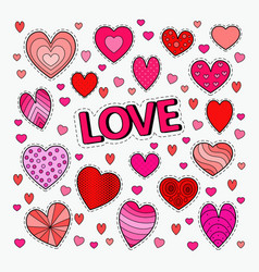 love and romance set of hearts doodle vector image