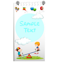 paper template with kids playing see-saw vector image vector image