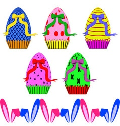 Easter eggs with ribbons and ears of rabbit vector image vector image