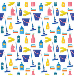 pattern with colored cleaning tools and equipment vector image