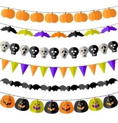 Set of Halloween buntings vector image