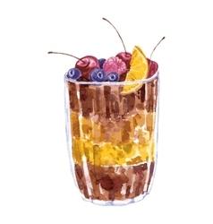 watercolor dessert with berries vector image