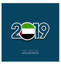 2019 uae typography happy new year background vector