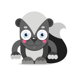 adorable cartoon skunk sitting on a white vector image