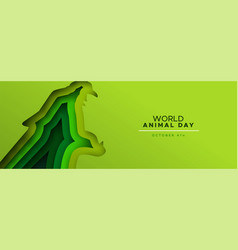 animal day papercut banner wild jaguar cat vector image