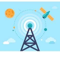 antenna tower and satellite vector image