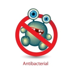 Antibacterial sign with a funny green cartoon vector image
