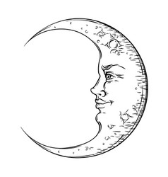 Antique hand drawn art crescent moon boho style vector