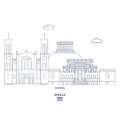 athens city skyline vector image