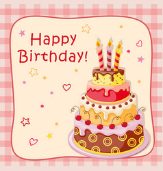 birthday card with cake tier candles cherry and vector image
