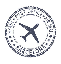 Black stamp with barcelona spain and aircraft vector