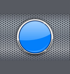Blue round button on metal perforated background vector