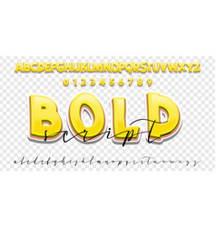 bold 3d and handwriting font set modern vector image