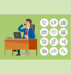 Boss worker sitting in office talking on phone vector