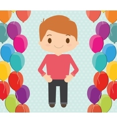 Boy cartoon and happy birthday design vector