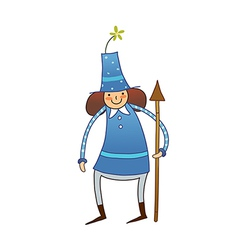 Boy standing with stick vector