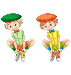 boys in different color shirts vector image