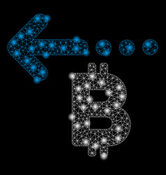 Bright mesh network bitcoin refund back with light vector