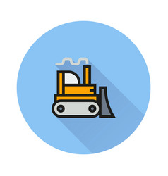 bulldozer icon on round background vector image
