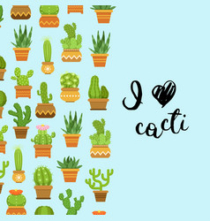 cacti in plant pots vector image