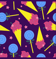 cartoon seamless pattern summer background ice vector image