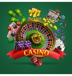 Casino Poster On Green Background vector