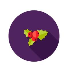 Christmas rowanberry flat icon vector