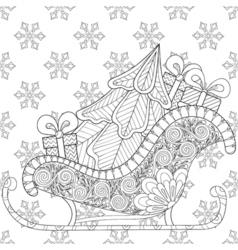 Christmas sledges of Santa with Christmas tree vector image