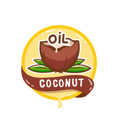 coconut oil logo natural product emblem vector image