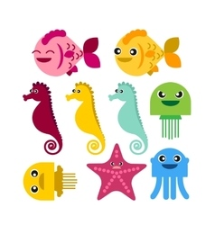 colorful seahorse fish jellyfish starfish vector image