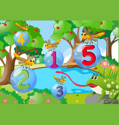 Counting number one to five with dragonflies in vector