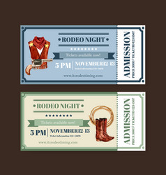 Cowboy ticket design with outfit gun rope vector