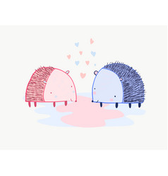 Cute cartoon valentines card with two hedgehogs vector
