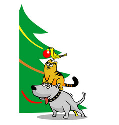 Dog cat and bird decorating the christmas tree vector
