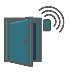 Door sensor colorful line icon security and alarm vector