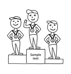 drawing sketch characters winner with medal vector image