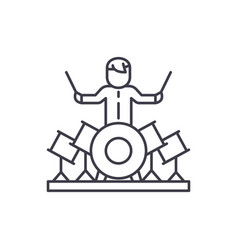 drummer line icon concept drummer linear vector image