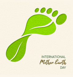 earth day papercut leaf carbon footprint concept vector image